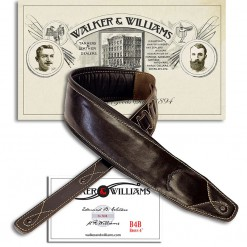 "Walker & Williams B4-B Super Wide 4"" Dark Brown Leather Double Padded Bass Strap 