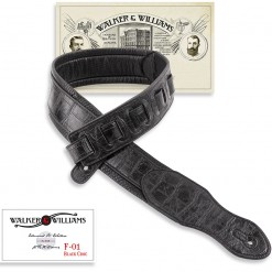Walker & Williams F-01 Black Gator Padded Strap