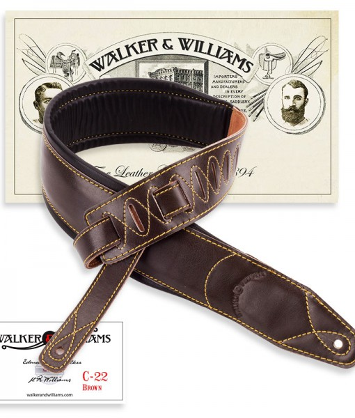 Walker & Williams C-22 Extra Wide Double Padded Premium Dark Brown Leather Guitar Strap