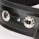 Walker & Williams C-44 Double Padded Premium Black Leather Strap with Conchos