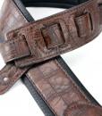 Walker & Williams F-06 Dark Brown Gator Padded Guitar Strap Glovesoft Back