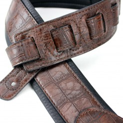 Walker & Williams F-06 Dark Brown Gator Padded Guitar Strap Glovesoft Back