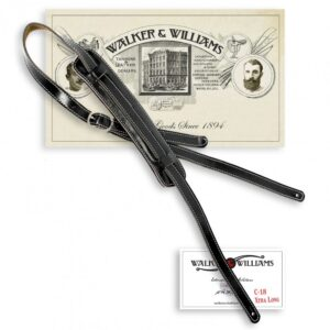 Walker & Williams Vintage Slash Strap Premium Black Leather Extra Long Up To 61"