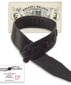 Walker & Williams G-15 Black Matte Padded 3″ Strap
