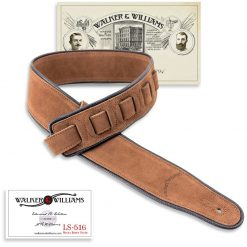 LS-516 Cappuccino Brown Suede Guitar Strap with Black Piping