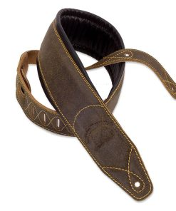 Walker & Williams C-22 Extra Wide Double Padded Premium Dark Brown Distressed Leather Guitar Strap