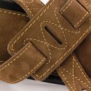 Walker & Williams C-22 Extra Wide Double Padded Premium Brown Boot Suede Leather Guitar Strap