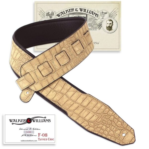 Walker & Williams F-08 Tanned Croc 3″ Strap Soft Padded Glovesoft Back