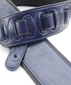 Walker & Williams G-25 Dark Blue Guitar Strap with Padded Glove Leather Back