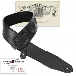Walker & Williams F-21 Black Gator Strap With Padded Glovesoft Back