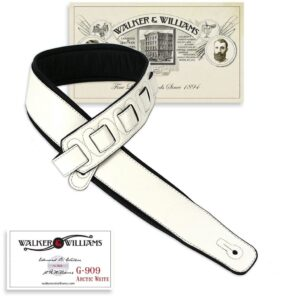 Walker & Williams G-909 Arctic White on Black Strap Padded Glovesoft Back