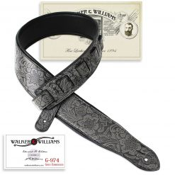 Walker & Williams G-974 Dark Grey Embossed Strap with Padded Glovesoft Back