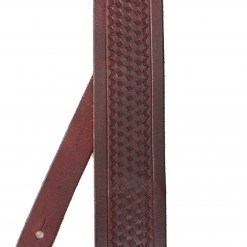 Walker & Williams SP-43 Tooled Basket Weave Mahogany Carving Leather Strap