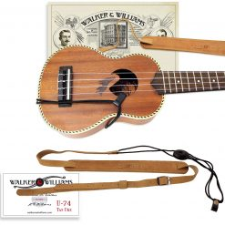 Walker & Williams U-74 Soft Leather Ukulele Strap Adjustable for Most Uke Sizes