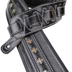 Walker & Williams C-35 Black Premium Leather with Studs Double Padded Strap