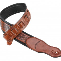 Walker & Williams G-114 Chestnut Brown Strap with Embossed Tooling and Padded Back