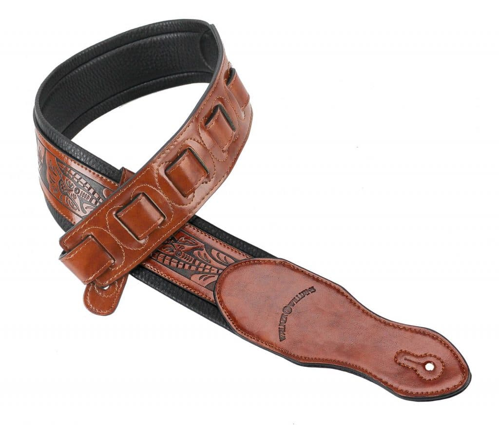 Walker /& Williams G-114 Chestnut Brown Strap with Embossed Tooling /& Padded Back