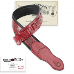 Walker & Williams G-116 Deep Red with Embossed Tooling & Padded Glovesoft Back