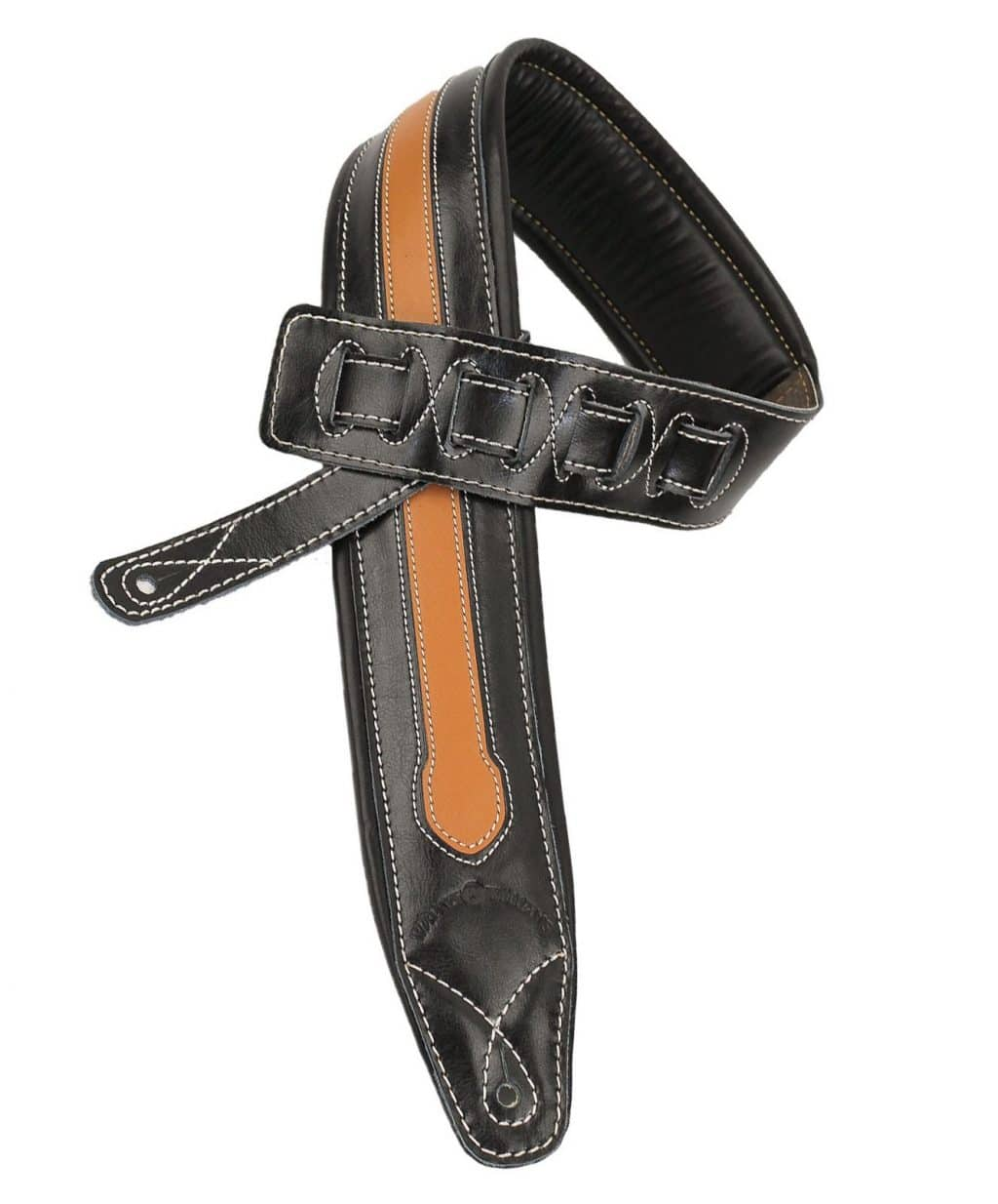 C 34 Tn Black And Tan Double Padded Premium Leather Strap