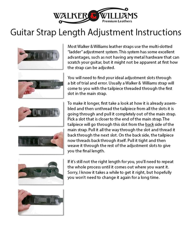 how to adjust the length of a walker williams guitar strap walker williams. Black Bedroom Furniture Sets. Home Design Ideas
