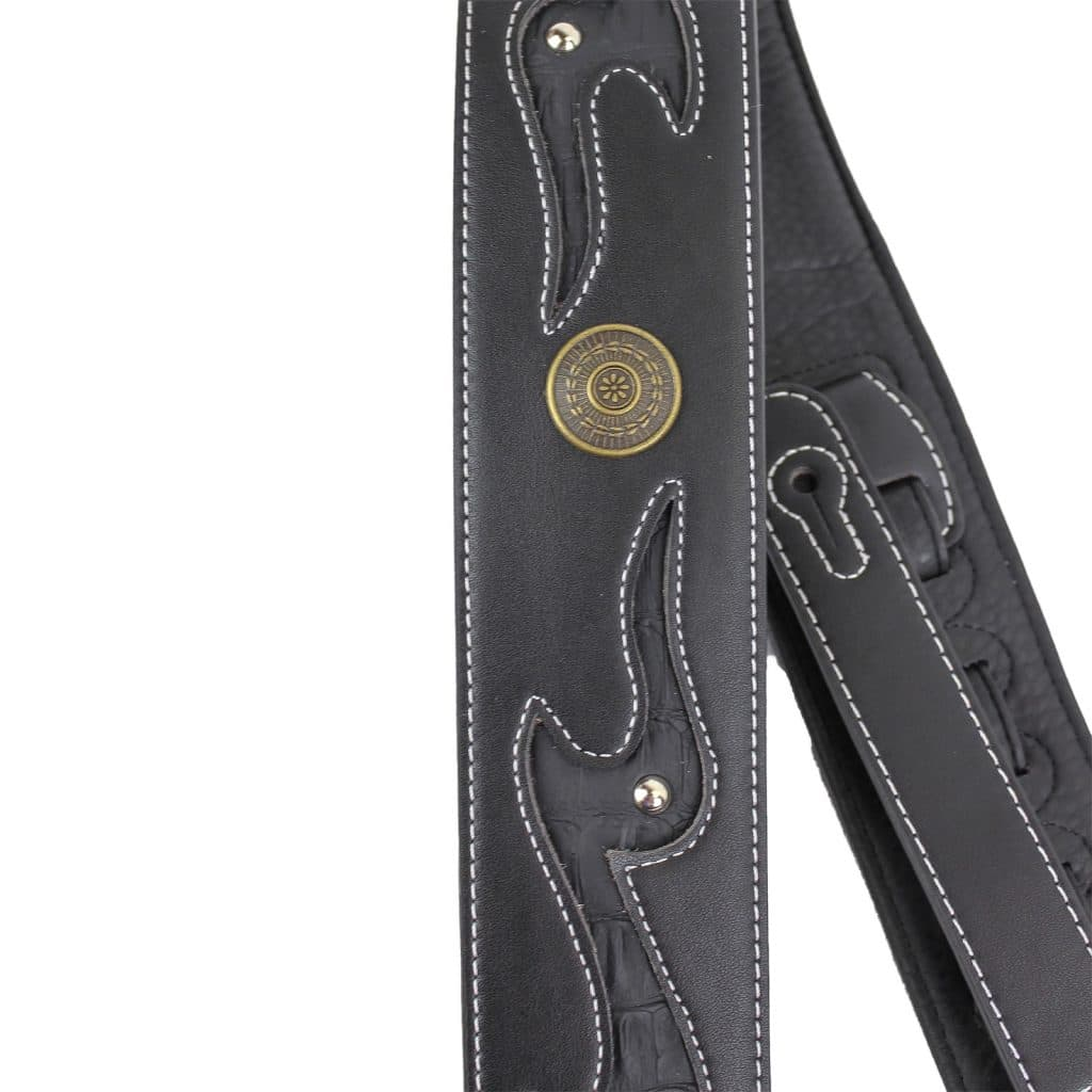 Gd 27 Black Lightning Strap With Gator Inserts Nailhead