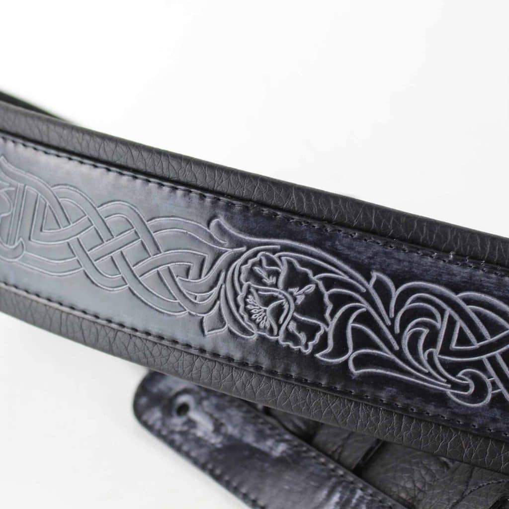 Walker /& Williams GB-182 Cobalt Black Brushed Celtic Braid Design Padded Strap